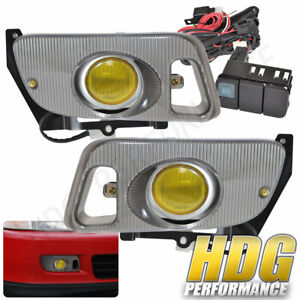 92 95 Civic Si Eg 2dr 3dr Jdm Yellow Amber Bumper Driving Fog Lights Lamp Switch