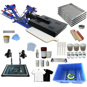 3 Color Sceen Printing Kit Silk Screen Press Printer Exposure Ink Supplies