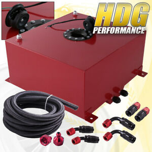 Red Aluminum Fuel Cell Gas Tank 10 Gallon 40l Black Cap Braided Oil Feed Line