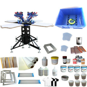 4 Color 4 Station Screen Printing Kit Silk Screen Press Ink Supplies Press Kit