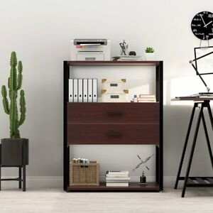 Home Office File Cabinet With 2 drawer Storage And 3 tier Open Shelves 31 69 l