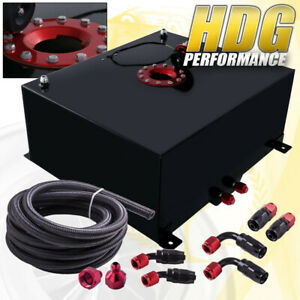 Black Aluminum Fuel Cell Gas Tank 21 Gallon 80 Liters W Red Cap Oil Feed Line