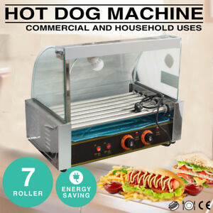 Commercial 18 Hot Dog Hotdog 7 Roller Grill Cooker Machine Snacks W cover 1050w