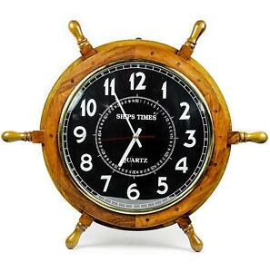 24 Nautical Moon Light Blue Large Wooden Ship Wheel With Ship S Time Captain S
