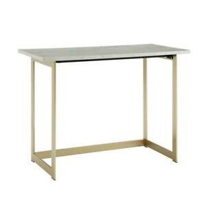 42 White Faux Marble And Gold Writing Desk