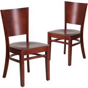 2 Pk Lacey Series Solid Back Mahogany Wooden Restaurant Chair