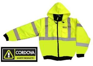Hi viz Insulated Lined Safety Bomber Jacket Lime Road Work High Visibility