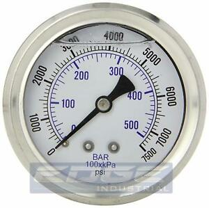 Liquid Filled Pressure Gauge 0 7500 Psi 2 5 Face 1 4 Back Mount Wog