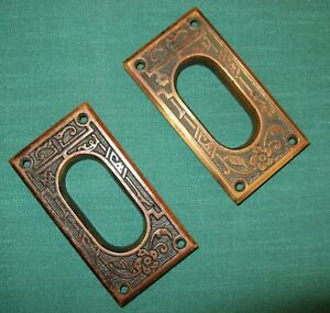 Original Brass Pocket Door Sliding Door Hardware Pull Handle Plates Eastlake
