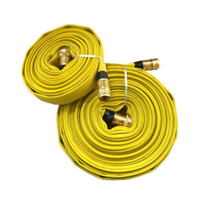 Forestry Grade Lay Flat Fire Hose W brass Fittings Garden Thread Yellow 250 Psi