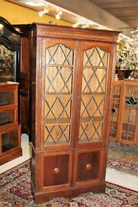 English Oak Jacobean Leaded Glass Door Bookcase Display Cabinet