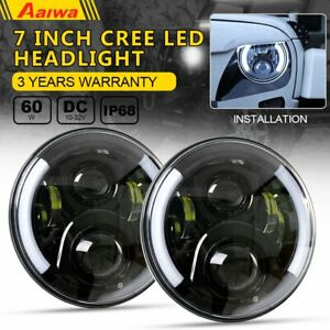 Pair 7 Inch Cree Round Led Headlights Kit Halo Angle Eyes For Jeep Wrangler Jk