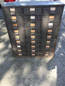 Steel Vintage Industrial 27 Drawer Metal Cabinet 12 1 4 Deep Drawers