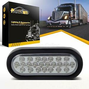6 24 Diodes Led Oval White Reverse Backup Clearance Light W Rubber Mount Sealed