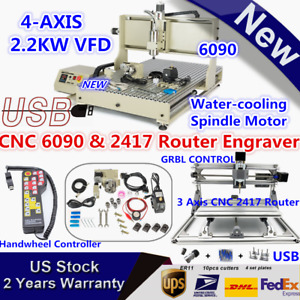 Usb 4axis Cnc 6090 Router Engraver 2 2kw Mini 2417 Engraving Machine Handwheel