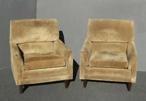 Pair Vintage Marge Carson Mid Century Modern Tan Suede Accent Chairs As Is