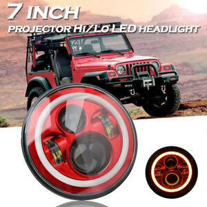 7inch Round Led Headlight Halo Angle Eyes Red For Jeep 97 2017 Wrangler Jk Lj Tj