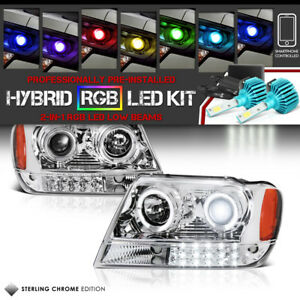 99 04 Jeep Grand Cherokee Wj Halo Projector Headlight Led Bumper Lamp Rgb Bulb