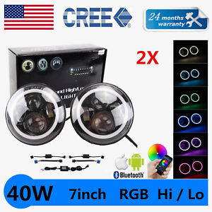 2x 7 in Rgb 40w Led Multi color Bluetooth Halo Ring Angel Eye Jeep Headlight Jk
