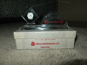 Clear Glass Business Card Holder With Clock