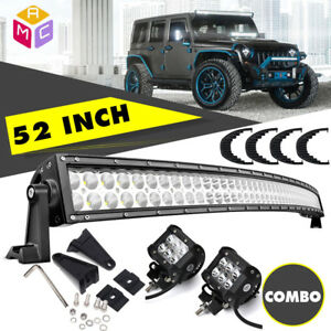 52 Curved Work Led Light Bar 4 Fog Driving Lamp Suv 4wd Boat Truck Off road