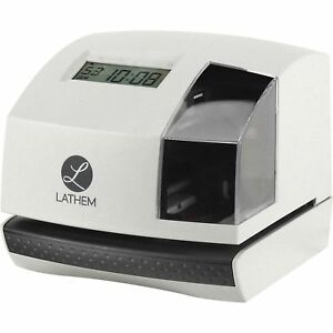 Lathem Time Clock And Document Stamp 6 3 10 wx6 4 5 dx5 3 5 h Gy bk 100e