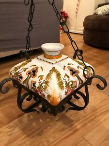 Vintage Italian Cast Iron Ceramic Light Chandelier