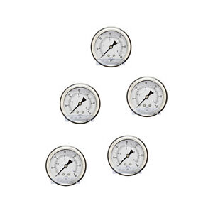 5 Pack Liquid Filled Pressure Gauge 0 60 Psi 2 5 Face 1 4 Back Mount Wog