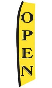 Wave Flag Open Business Sign Advertising 134 X 32 Outdoor Pole Ground Spike