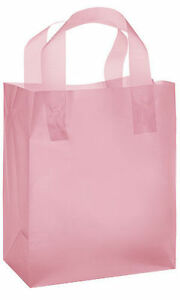 Plastic Bags 50 Medium Pink Frosted Frosty Merchandise Shopping Gift 8 X 5 X 10