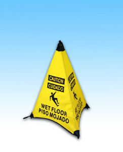 Jl Handy Cone 31 Caution Wet Floor Sign With Wall Mounted Holder New 290398ea