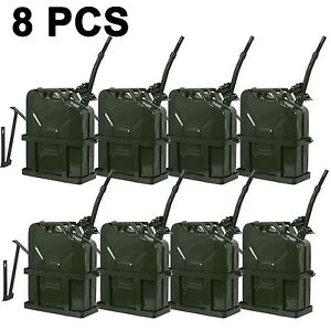 8x Jerry Gas Can Fuel Tank Steel 5 Gallon 20l Nato Style Military Green W Holder