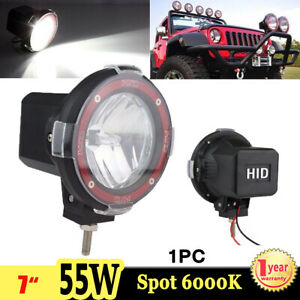 1x 7inch 55w Hid Xenon Work Light Spot Driving Lamp 6000k 4wd Boat Offroad Suv