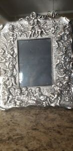 Vintage Sterling Silver Ornate Angel Cherub Repousse 3d Picture Photo Frame