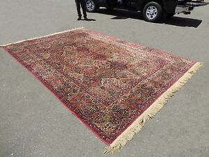 8 X 12 Large Vintage Karastan Kirman Red Wool Area Rug Persian Style