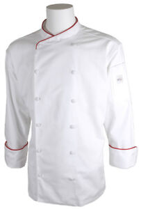 Mercer Renaissance Cutlery Men s Chef Jacket scoop Neck White W Red Piping