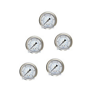 5 Pack Liquid Filled Pressure Gauge 0 200 Psi 2 5 Face 1 4 Back Mount Wog