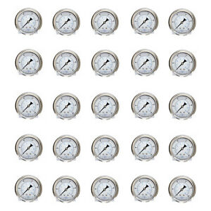 25 Pack Liquid Filled Pressure Gauge 0 200 Psi 2 5 Face 1 4 Back Mount Wog
