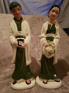Vintage Chinese Famille Rose Porcelain Man Woman Statues Wedding Handpainted