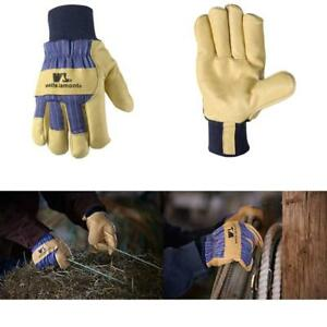 Winter Work Gloves With Leather Palm Heavy Duty For Men Protection Construction