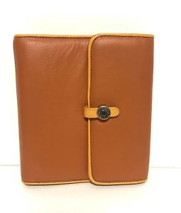 Franklin Covey Compact Orange Full Grain Leather Magnetic Planner 1 Rings