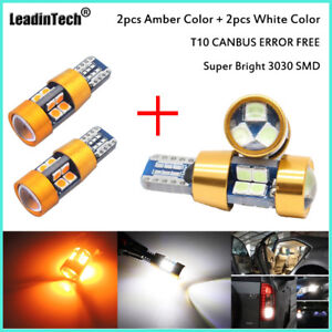 4pcs T10 Led Bulbs Amber White Samsung 3030 Canbus Error Free168 194 W5w Light