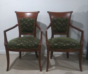 Antique Scroll Back Parlor Accent Chairs