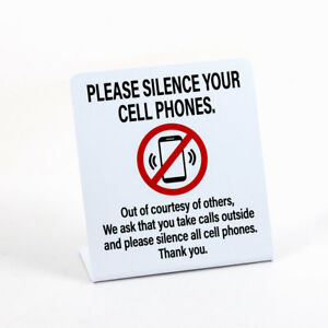 Please Silence Your Cell Phones Plastic Counter Sign 3 Pack Free Shipping