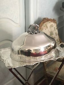 Antique 19th Century English Sheffield Silver Plate Meat Dome Vine
