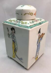 A Antique Chinese Famille Rose Porcelain Tea Caddy Box Circa 1880 1920 Figures