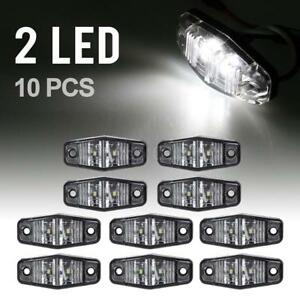 10x 2 54 Clear White Sexangle Side Marker Light Warning Light Utility 2 Diodes