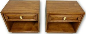 Pair Of Lane Mid Century Night Stands With Brass Accent And Brutalist Styling