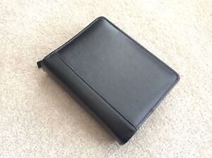 Compact 1 25 Black Top Grain Leather Franklin Covey Zip Planner Binder Organize