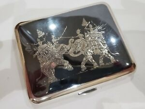 Stunning Antique Niello Solid Silver Sterling Enamel Cigarette Case 130 G